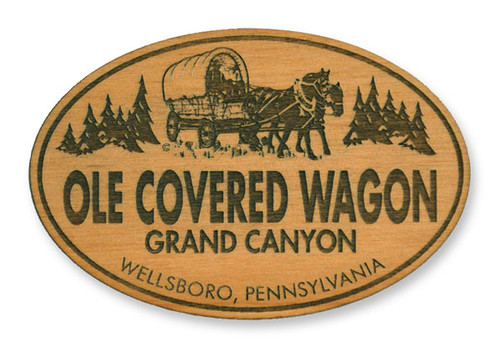 Wholesale Classic Covered Wagon Wooden Magnet