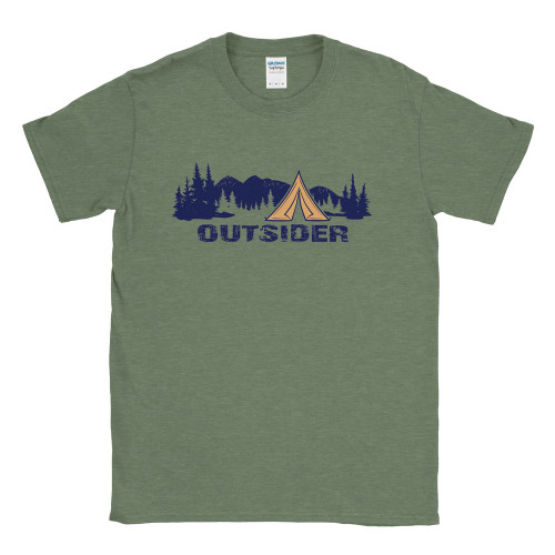 Outsider Tee design on Gildan Soft Style Heather Military Green