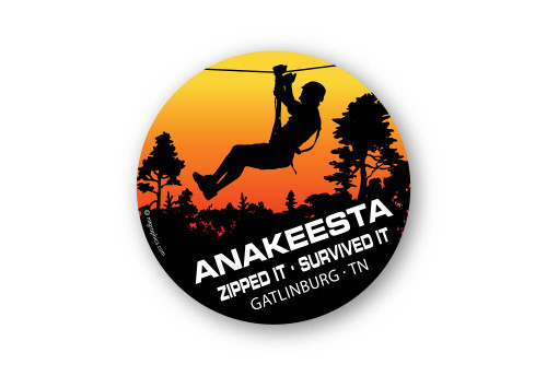 "Wholesale Zipline in Trees 4"" Sticker"