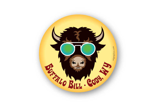 Wholesale Cool Buffalo with Round Glasses Sticker