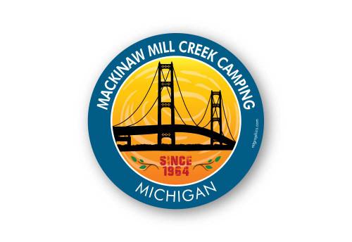 Wholesale Mackinaw Bridge Sticker - Round