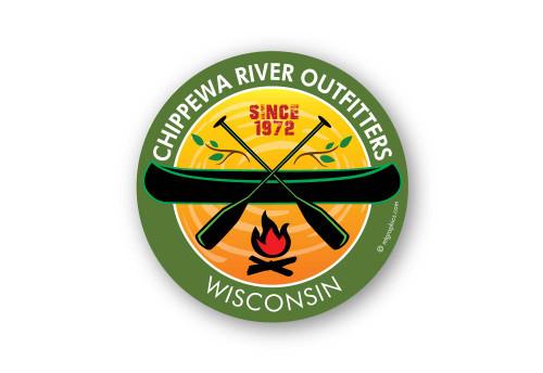 Wholesale Campfire Canoe Sticker - Green
