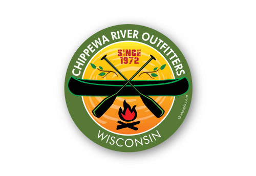 Wholesale Campfire Canoe Sticker - Green