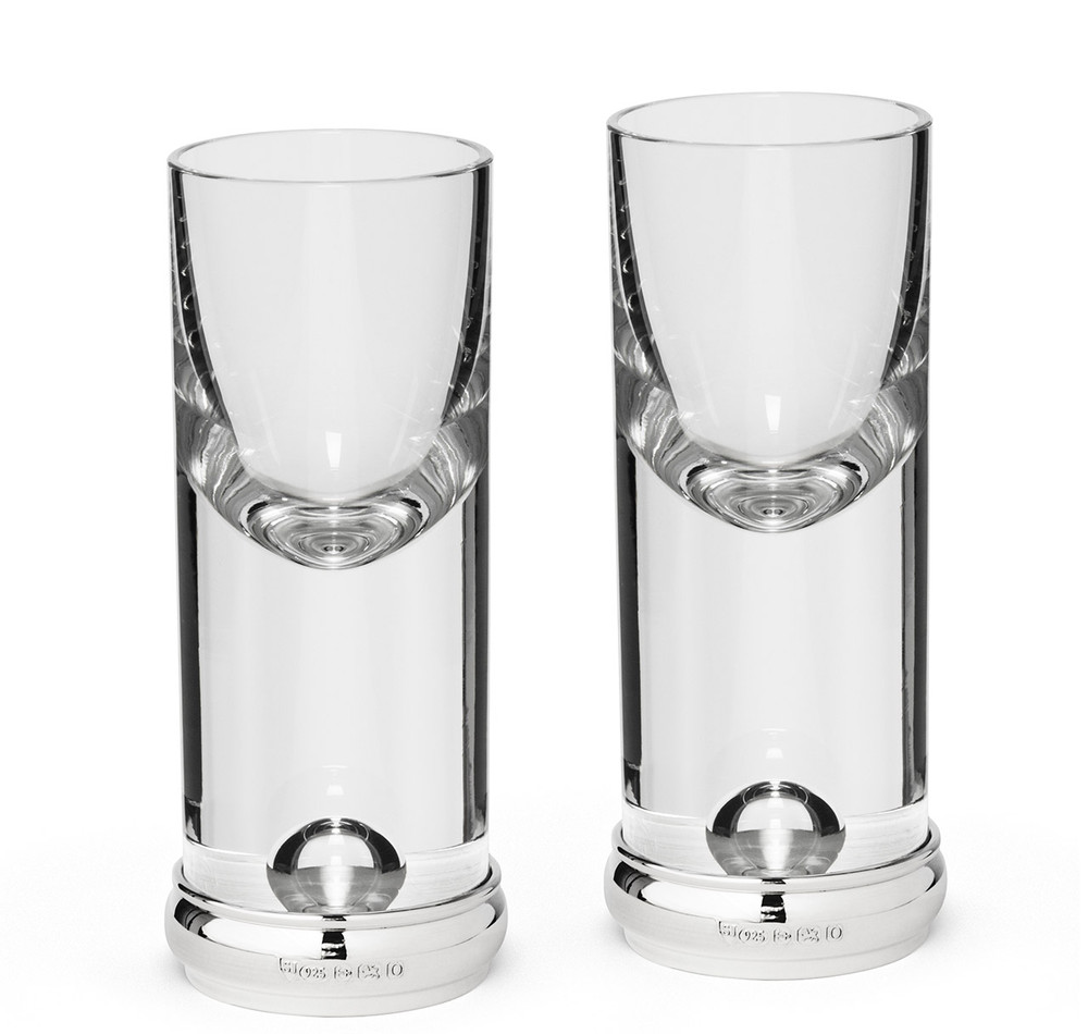 Sterling Silver & Crystal Tall Shot Glass Set