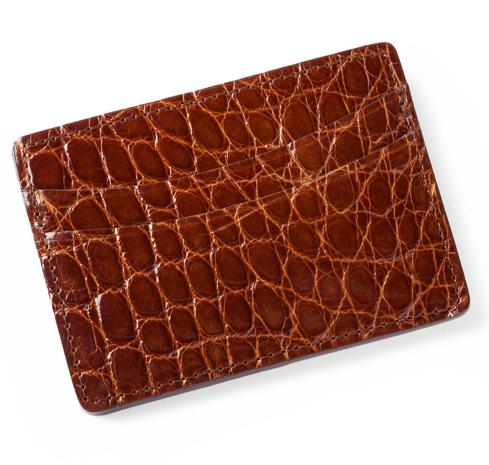 Glazed Cognac Alligator Card Holder