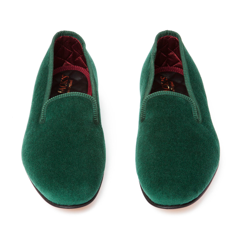 Green Albert Velvet Slippers