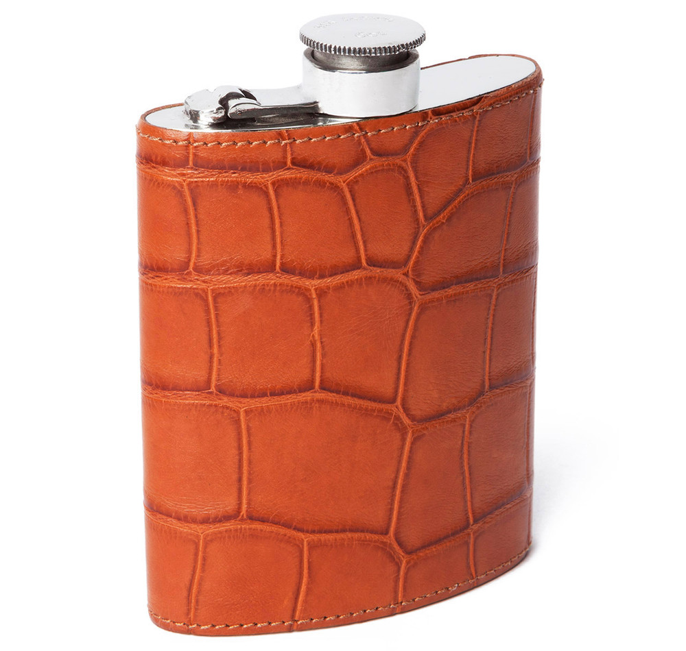 Cognac Alligator 6oz Kidney Captive Top Flask