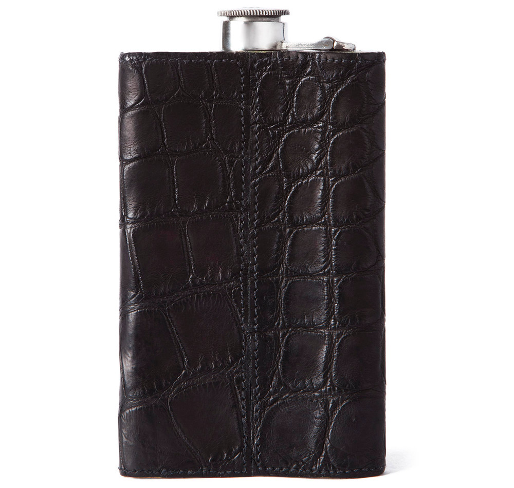 Matte Black Alligator 8oz Kidney Captive Top Flask