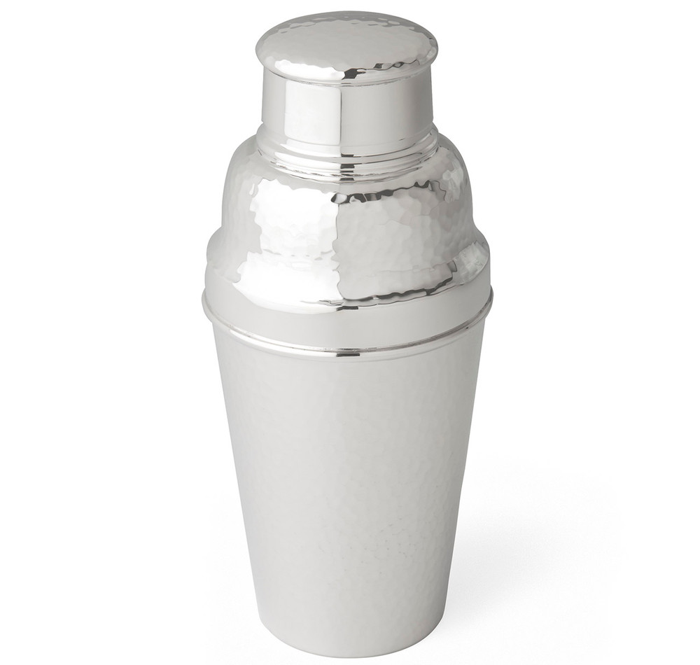 Art Deco William Suckling Silver-Plated Hammered Cocktail Shaker