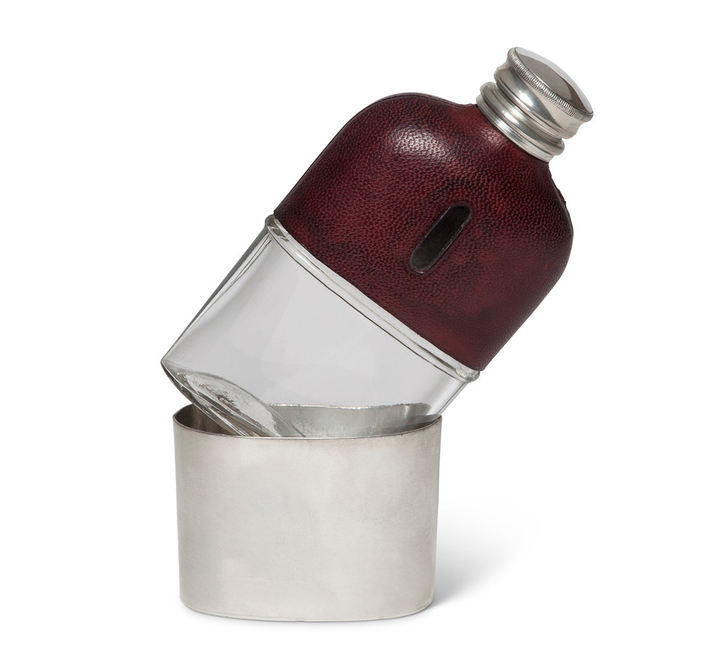 James Dixon & Sons Pewter & Leather Hip Flask