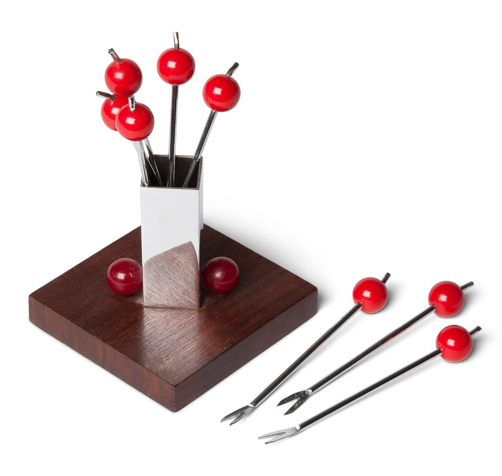 Art Deco Cherry Cocktail Pick Set