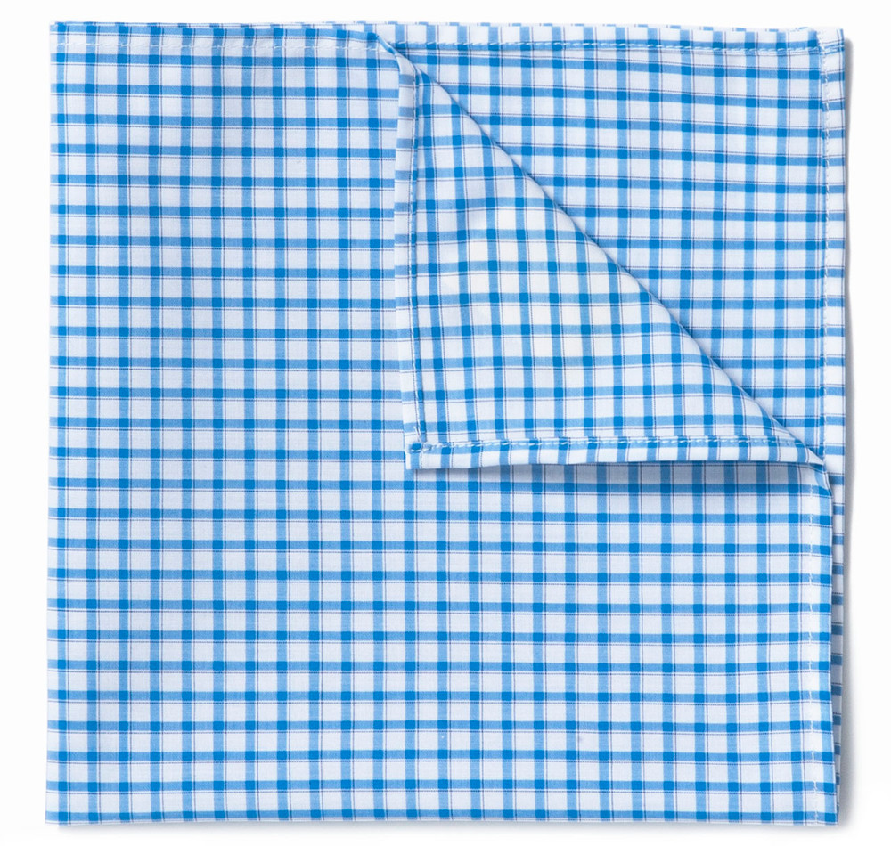 Blue Gingham Pocket Square