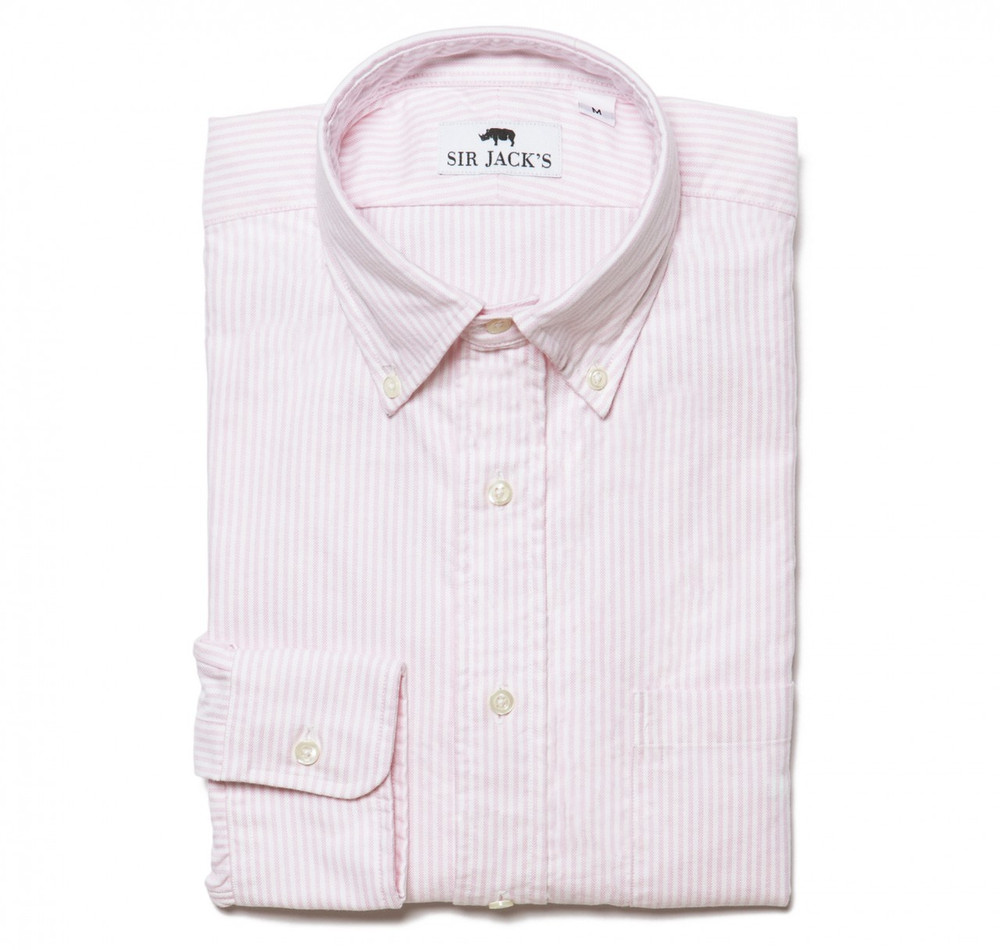 Washed Oxford Shirt in Pink & White Stripe