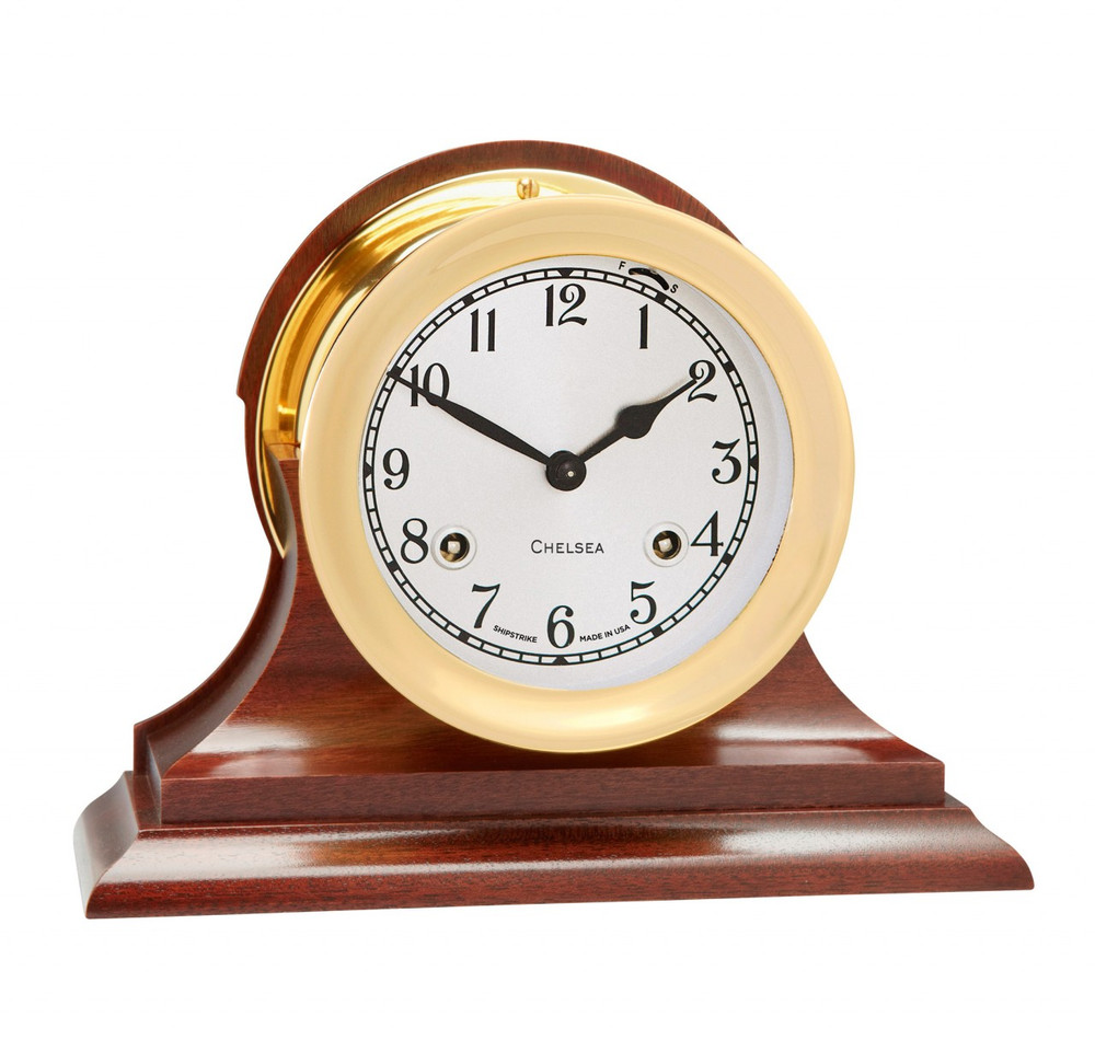 """Chelsea Clock 4 1/2"""" Shipstrike Clock in Brass on Traditional Base"""