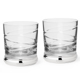 Sterling Silver & Crystal Cross Cut Whiskey Tumbler Set