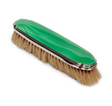 Art Deco Sterling & Guilloche Enamel Clothes Brush