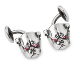 Unger Brothers Sterling Silver Bulldog Cufflinks