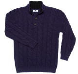 Cashmere Cable Knit Mockneck Sweater in Dark Plum