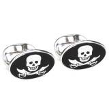 Pirate Skull & Swords Sterling Silver Cufflinks