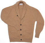 Cashmere Shawl Cardigan Sweater in Brown Sugar