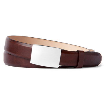 Sterling Silver Belt Buckle with Brown Pulled Leather Belt Strap