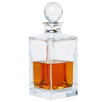 Sterling Silver & Crystal Square Whiskey Decanter
