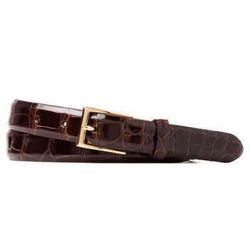 Glazed Alligator Belt in Chocolate