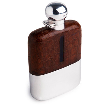 James Dixon & Sons Alligator & Sterling Silver Hip Flask