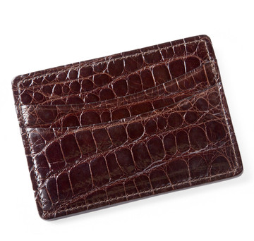 Glazed Chocolate Brown Alligator Card Holder