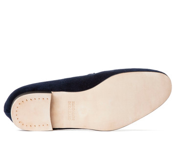 Navy Albert Velvet Slippers