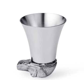 Pewter Dog's Head Spirit Measure & Stirrup Cup