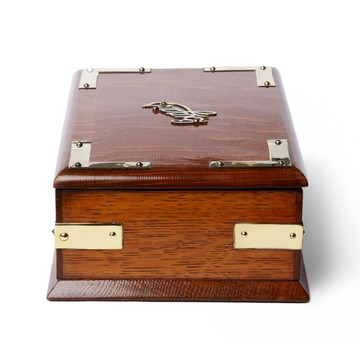 English Oak Campaign Desktop Cigar Humidor