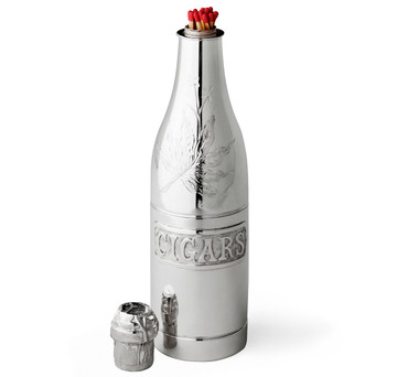Pairpoint Silver-Plated Champagne Bottle Form Cigar Humidor