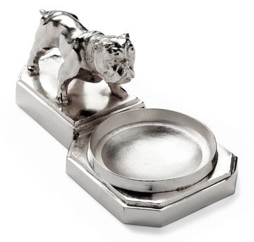Large Silver-Plated Bulldog Cigar Ashtray