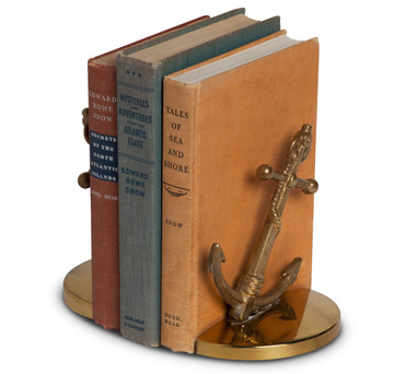 Vintage Nautical Brass Anchor Bookends