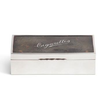 English Sterling & Faux Tortoiseshell Cigarette & Cigar Box