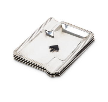 Art Deco Sterling Playing Card Ashtray Set