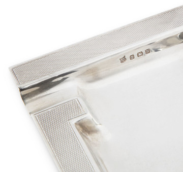 Art Deco Sterling Square Engine-Turned Ashtray