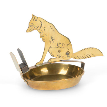 Art Deco Brass Fox Cigar Cutter & Ashtray