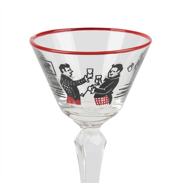 Vintage Painted Martini Cocktail Glass