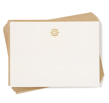 Terrapin Stationers Engraved Golden Nautical Stationery Set