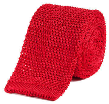 Classic Knit Silk Tie in Fire Engine Red