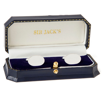 Sir Jack's Sterling Oval Cufflinks
