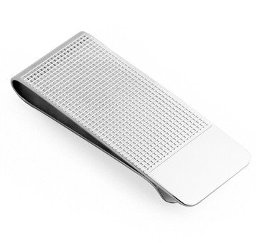 Sterling Silver Square Patterned Money Clip