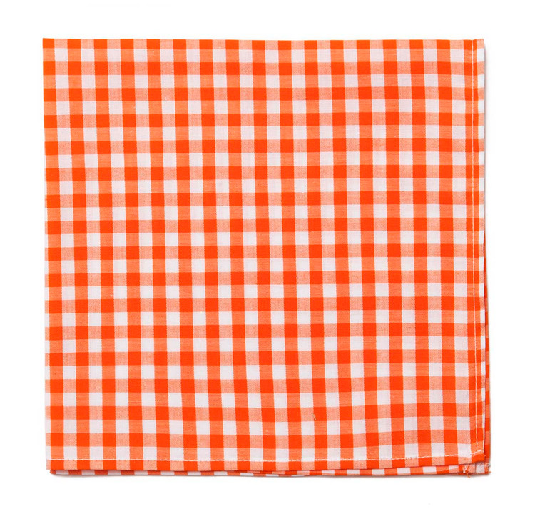 Orange Gingham Pocket Square