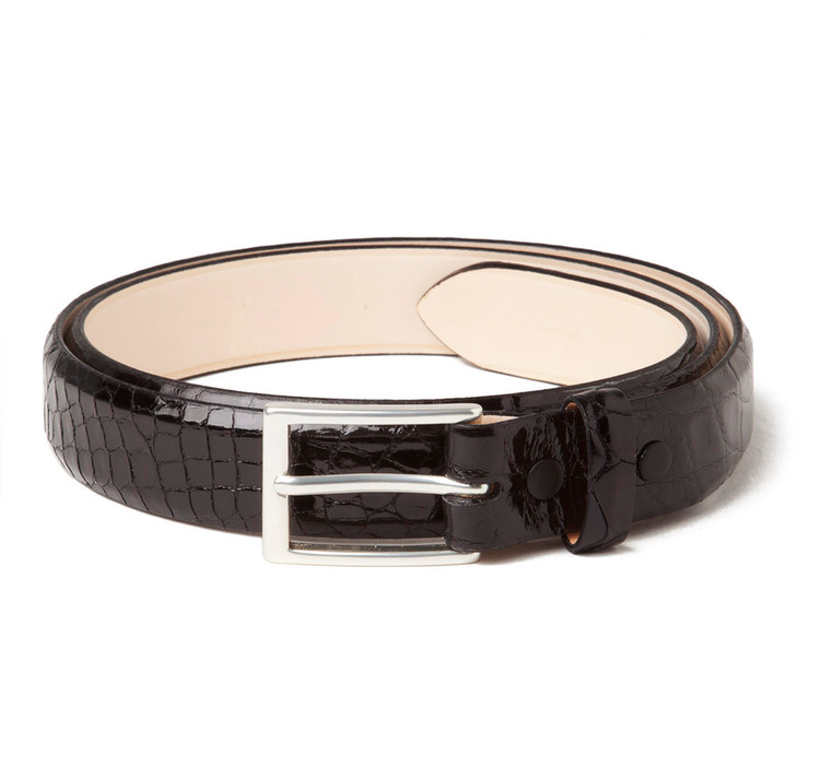 Glazed Alligator Belt in Black