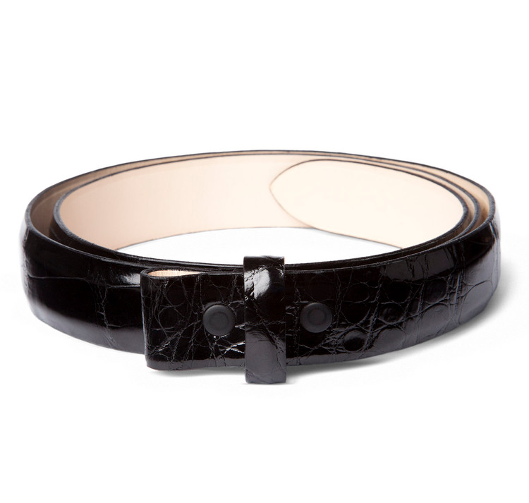 "Glazed Black Alligator 1"" Belt Strap"