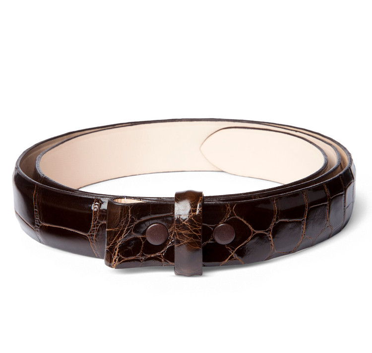 "Glazed Chocolate Alligator 1"" Belt Strap"
