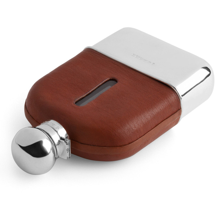Sterling Silver & Leather Hip Flask