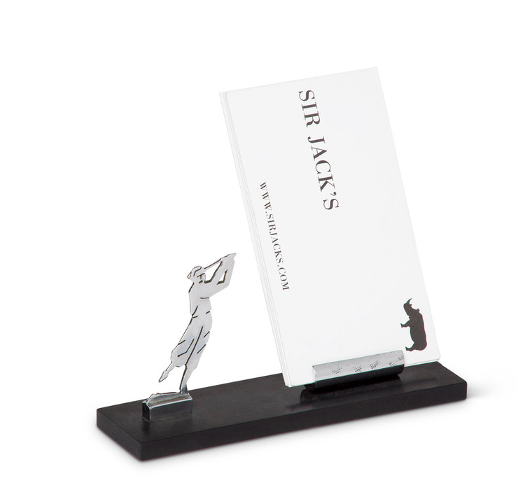 Art Deco Chrome Golfer Business Card Holder
